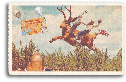 The 1950s brought us the height of kitsch in our American culture and this vintage postcard is a great example of some of the art that emerged during that time. Two young riders enjoy being atop the back of the mythological creature known as the Jackalope. A kitty playing Santa Claus watches from below.